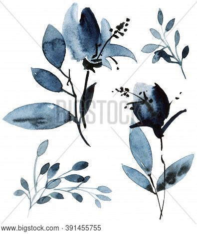 Watercolor And Ink Illustration Of Flower With Leaves In Blue Color. Oriental Traditional Painting I