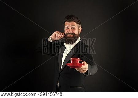 Buy Whole Roasted Arabica Beans. Try Best Coffee In Your Life. Man Bearded Hipster Prepared Coffee.