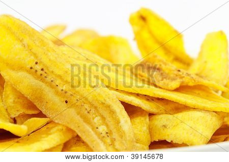 Fried Thinly Sliced Banana Chips.