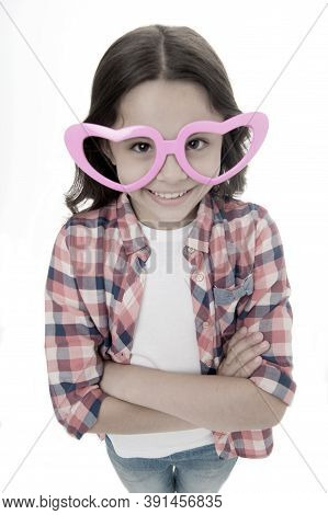 Kid Happy Lovely Feels Sympathy. Child Charming Smile Fall In Love. Girl Heart Shaped Eyeglasses Cel