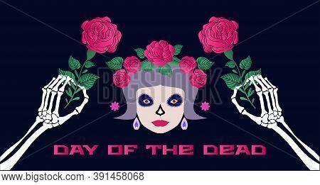 Dia De Los Muertos, Day Of The Dead Or Halloween Greeting Card,  Banner, Invitation. Sugar Tatoo Sku