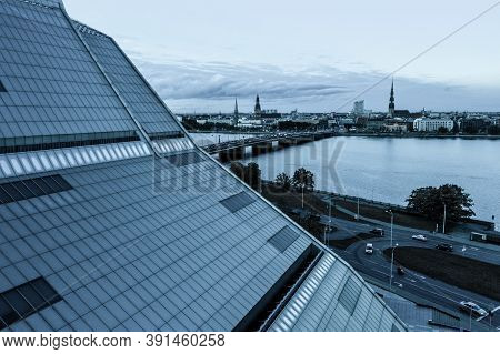 Riga, Latvia - September 20, 2020: Aerial View Of The Building Of National Library Of Latvia, Also K
