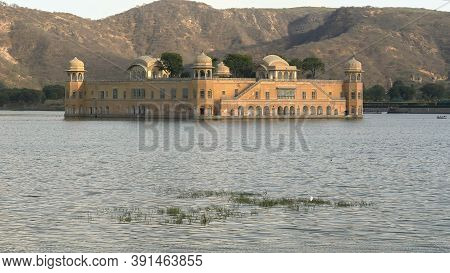 Afternoon View Of Jal Mahal Palace And Lake In Jaipur