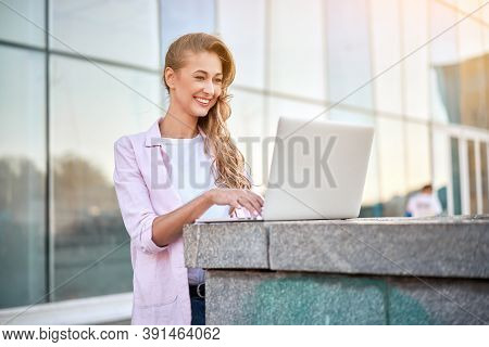 Businesswoman Standing Corporate Building Summer Day Using Laptop Business Person Working Remote Suc
