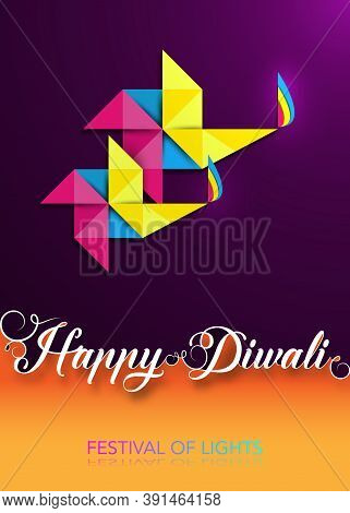 Happy Diwali Celebration In Origami Style Graphic Design Of Indian Diya Oil Lamps In Pinwheel Shape,