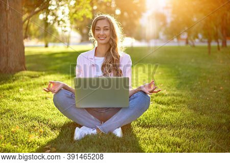 Businesswoman Sitting Land Grass Summer Park Using Laptop Business Persone Working Remote. Outdoor S