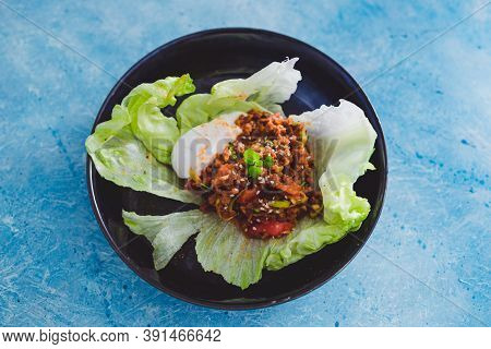 Healthy Plant-based Food Recipes Concept, Vegan San Choy Bow Asian Lettuce Wraps With Plant-based Mi