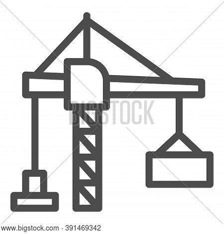 Construction Crane With A Container Line Icon, Hoisting Machines Concept, Harbor Lifter Sign On Whit
