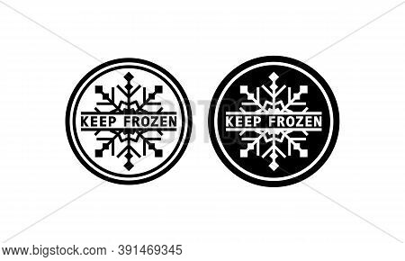Keep Frozen Sign In Black. Warning. Refrigerant. Vector On Isolated White Background. Eps 10