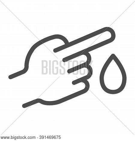 Blood From Finger Line Icon, Medical Concept, Blood Test Sign On White Background, Finger With Blood