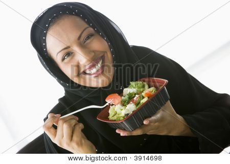 Middle Eastern Business Woman Eating Lunch