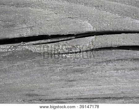 Closeup of very old wooden texture with large cracks poster