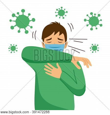 Sneezing Man Wearing Medical Mask With Virus Cells Around On White Background. A Man Using Arm Cover