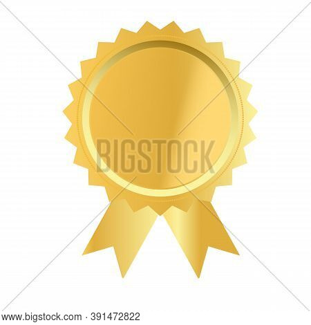 Gold Medal On White Background. Gold Award Sign. Golden Seal With Ribbons Symbol. Flat Style.