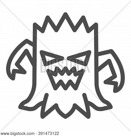 Stump With Face Line Icon, Halloween Concept, Talking Tree Sign On White Background, Scary Stub Icon
