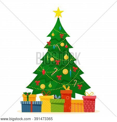 Decorated Christmas Tree With Gift Boxes, Star, Lights, Decoration Balls And Lamps. Merry Christmas