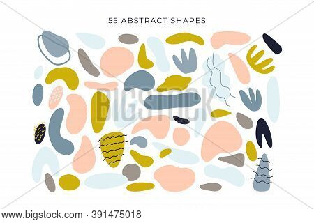 Abstract Shapes, Modern Floral Elements Big Set. Hand Drawn Doodle Geometric And Texture Collection.