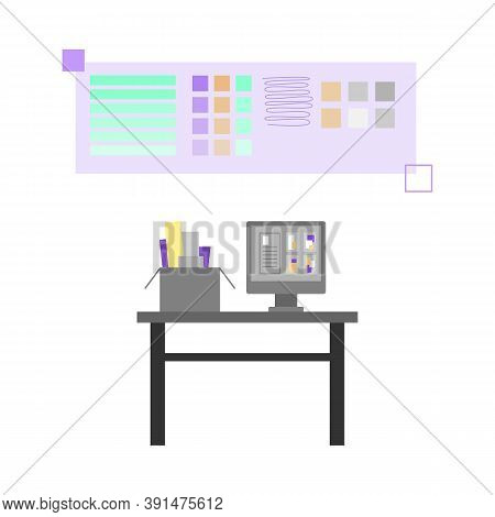 Workplace Of Polygraphy Designer Or Prepress Engineer In Printing House, Publishing Or Advertising A