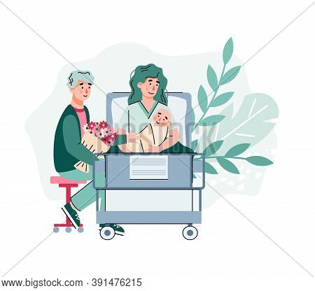 Happy Couple In Maternity Hospital After Baby Birth, Flat Cartoon Vector Illustration Isolated On Wh