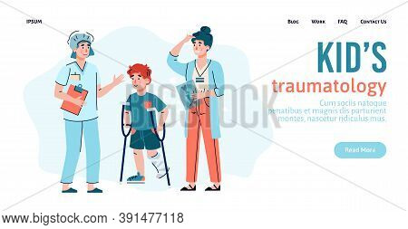 Website Banner For Kids Traumatology Clinic With Little Child On Crutches, Flat Cartoon Vector Illus