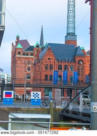 Hamburg, Germany - December 09, 2016: The Warehouse District Speicherstadt During Winter In Hamburg,