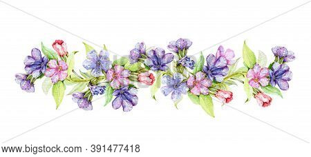 Lungwort Herb With Flowers Watercolor Border Illustration. Medical Wild Plant With Violet Flowers On
