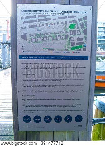 Hamburg, Germany - December 09, 2016: The Poster With Plan About Warehouse District Speicherstadt Du