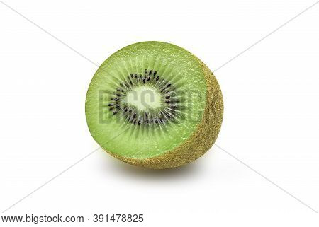 Fresh And Juicy Whole Organic Kiwi Fruit On White Isolated Background With Clipping Path In Close Up