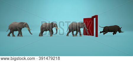 Elephants Entering A Door And Gets Out As A Rhino . Changing Mindset And Different Approach Concept