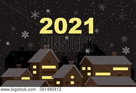 Snowy City Happy New Year Holiday Greeting Card Background