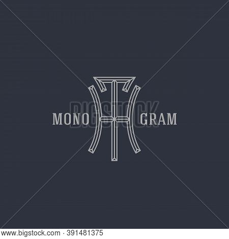 Geometric Beveled Vintage Monogram Letters H And T Design Template In Linear Style. Vector Illustrat