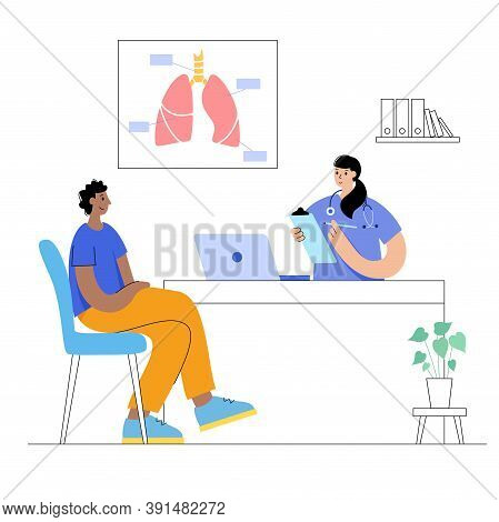 Lungs Anatomy And Respiratory System. Internal Organs Transplantation And Donation. Doctor Appointme