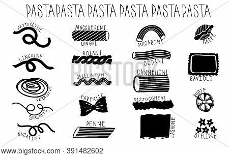 Hand Drawn Type Pasta Set. Different Variation Macaroni Doodle Hand Drawn Collection.
