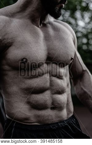 Outdoor Fitness Workout Perfect Sport Male Body Physique With Muscular Abdominal And Chest