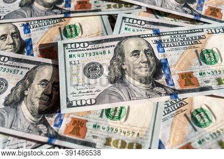 Official Currency Of The Us. Dollar, Abbreviation Usd. Set Of One Hundred Dollar Bills Close Up. Ame