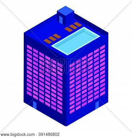 Isometric Building With Rooftop Pool Isolated On White. Modern Palette. Vector Eps10.