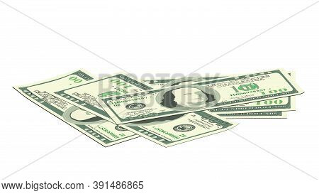 Scattered Paper 100 Us Dollars Banknotes Isolated On White. Much Money. A Pile Of Money In A Realist
