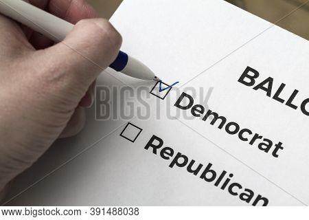 Checklist Concept. Voter Votes For Democrat On The Ballot. A Checkmark For Democrat In The Checkbox.