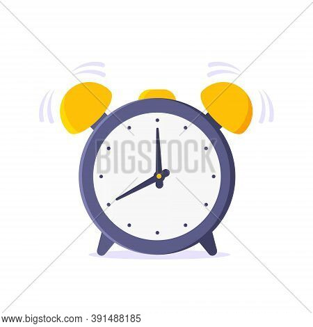 Alarm Analog Clock Face Rings Flat Style Design Vector Illustration Icon Sign Isolated On White Back