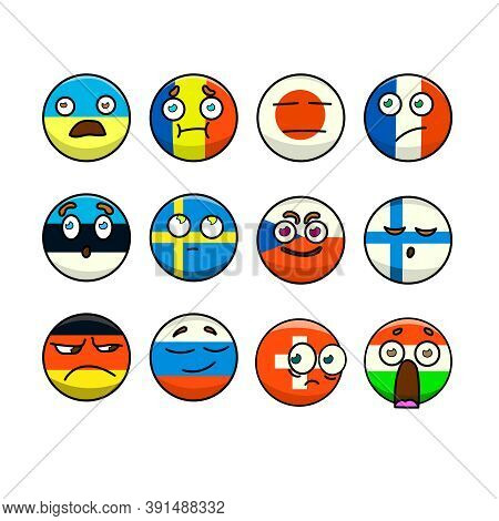 Emoticons With Flags Of Different Countries Set Of 12 Pieces. Vector Illustration