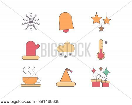 Winter Christmas Icon Set With Visualization Of Snowflakes, Bell, Gifts, Coffee, Santa And Globs