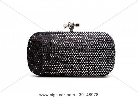 Black handbag with diamonds