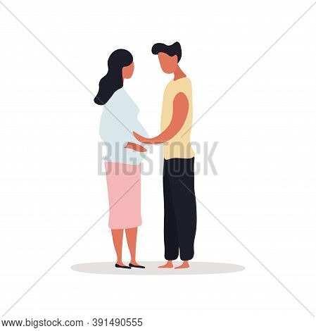 Happy Family Concept. A Man And His Pregnant Wife Are Standing Face To Face. A Man Stroking His Wife