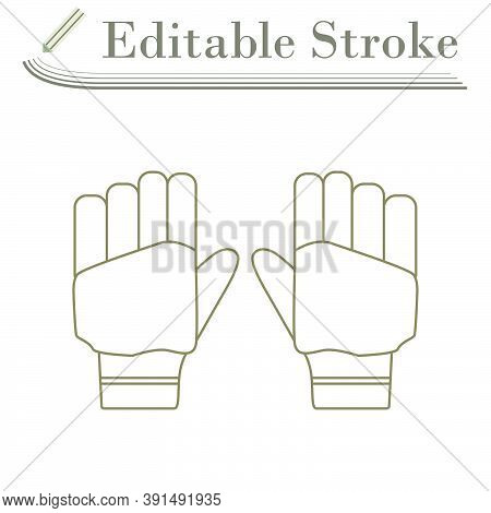 Pair Of Cricket Gloves Icon. Editable Stroke Simple Design. Vector Illustration.
