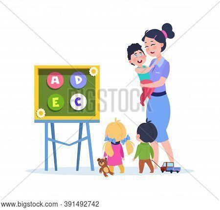Kids Study Letters. Little Babies In Kindergarten With Cute Teacher. Preschool Learning Vector Illus