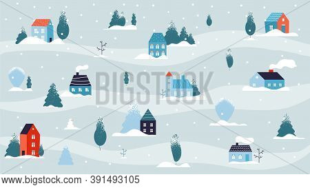 Winter Snowy Landscape. Christmas House Minimal Background, Country Or Cute Village In Forest. Flat