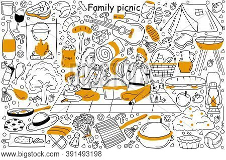 Family Picnic Doodle Set. Collection Of Hand Drawn Sketches Templates Patterns Of Man Father Woman M