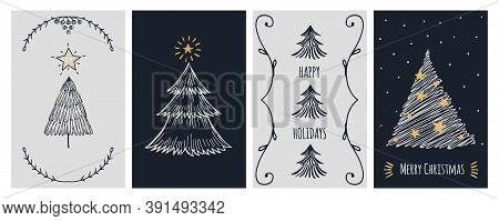 Christmas Cards Template. Doodle Xmas Tree And Stars, Holiday Invitation Banner. New Year Festive Sc