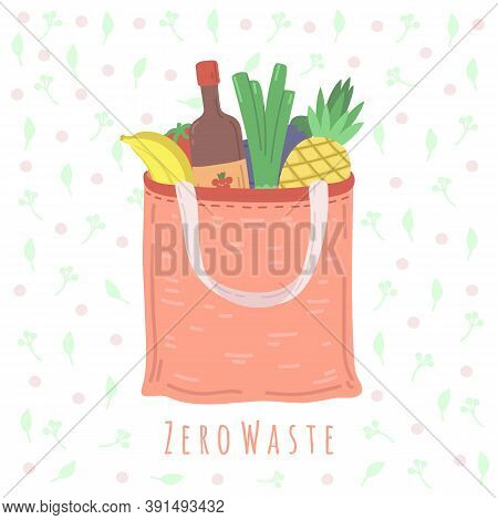 Eco Food Bag. Grocery Shop Package, Zero Waste Shopping Concept Textile Packaging. No Plastic, Vegan