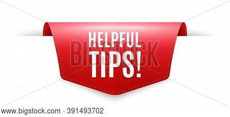 Helpful Tips Symbol. Ribbon Label Tag. Education Faq Sign. Help Assistance. Infographics Price Tag B